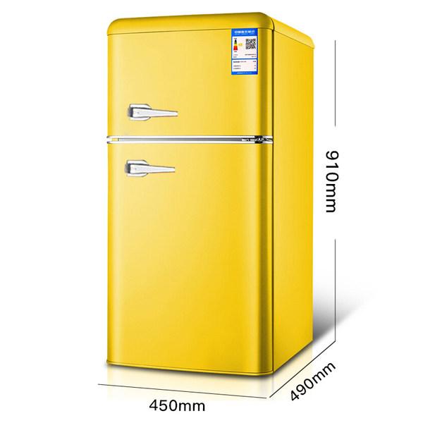 가정용 레트로 소형 냉장고 원룸냉장고 미니냉장고 132L, 레트로 옐로우