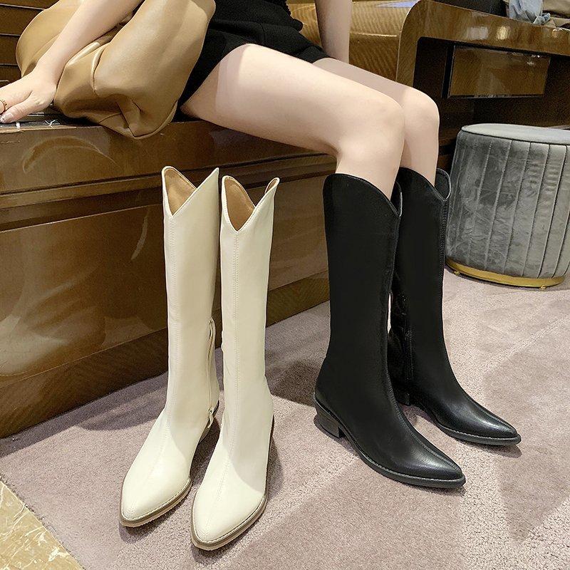 여성 가을 웨스턴부츠 4cm 미들굽 롱부츠