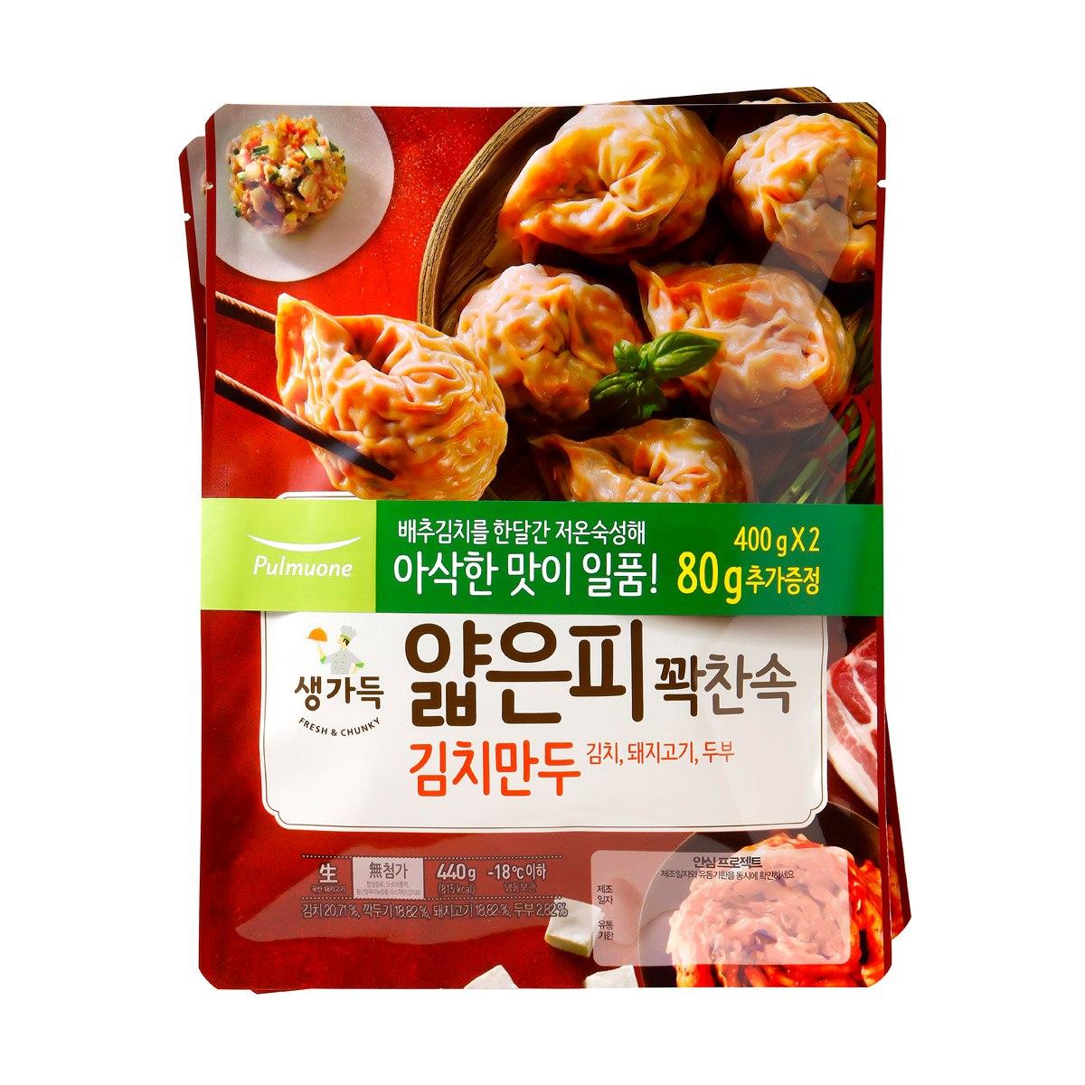 ★아이스박스★풀무원 얇은피꽉찬속 김치만두 400gx2, 단일상품
