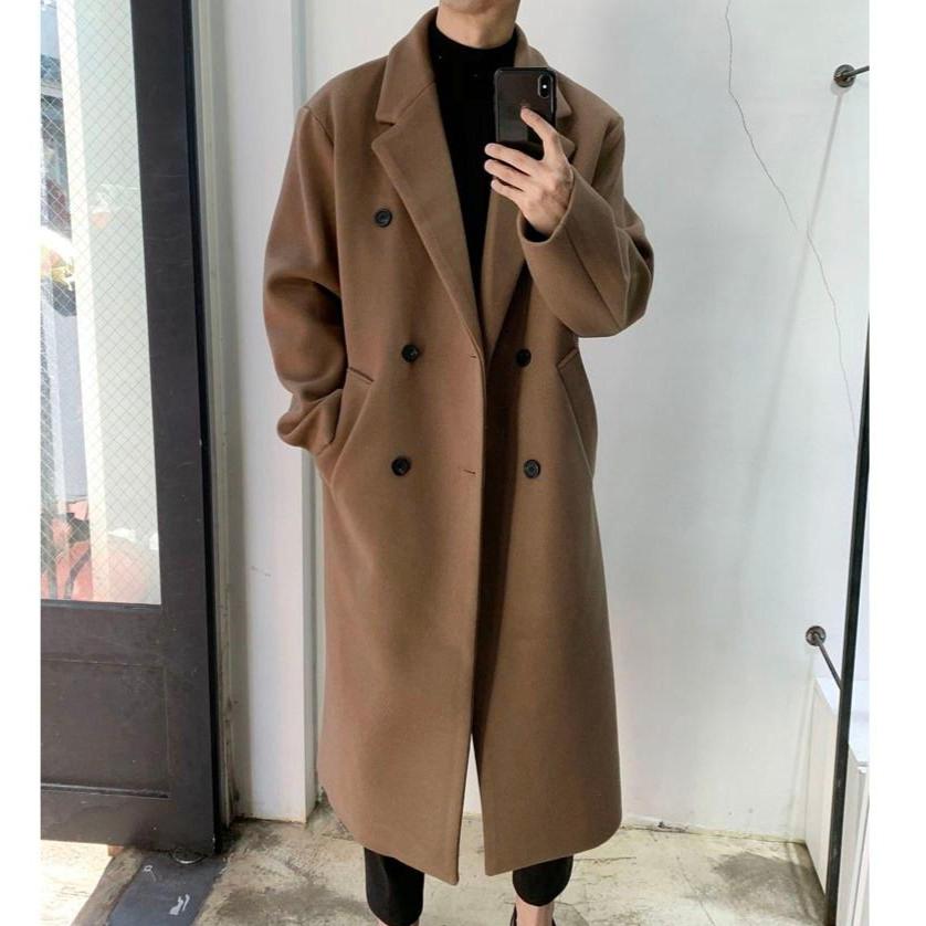 라운지21 남자 오버핏 롱 더블 울 코트