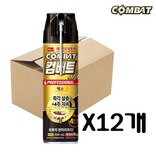 [무료배송]컴배트 프로페셔널 맥스(수성) 에어졸 500ml 바퀴벌레약, 12개