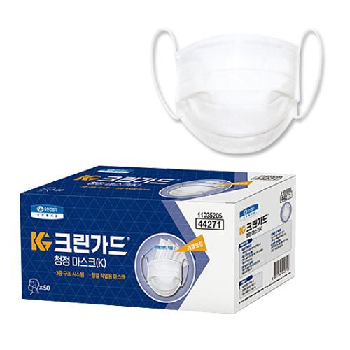 유한킴벌리 크린가드 청정 마스크(K) 대형 - 화이트, 1개, 50매