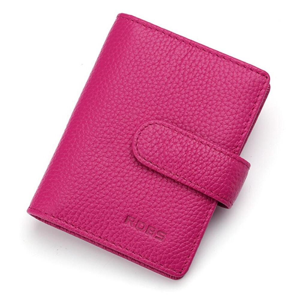 BASHI 바 르 디 (RDBS) 카드 지갑 여자 리 얼 가죽 여사 가방 / 세트 명함 운전 면허증 클립 KB 1702 로즈 레 드