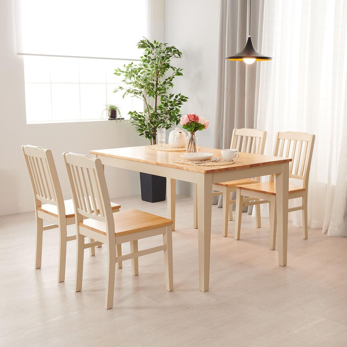 소티디자인 알베로2 고무나무목 4인식탁 원목식탁 (식탁의자포함) 식탁세트