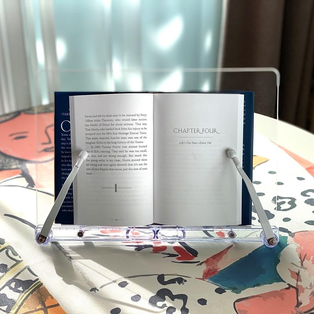 슈가덕 투명 독서대 휴대용 책받침대 각도조절 북스탠드 책거치대