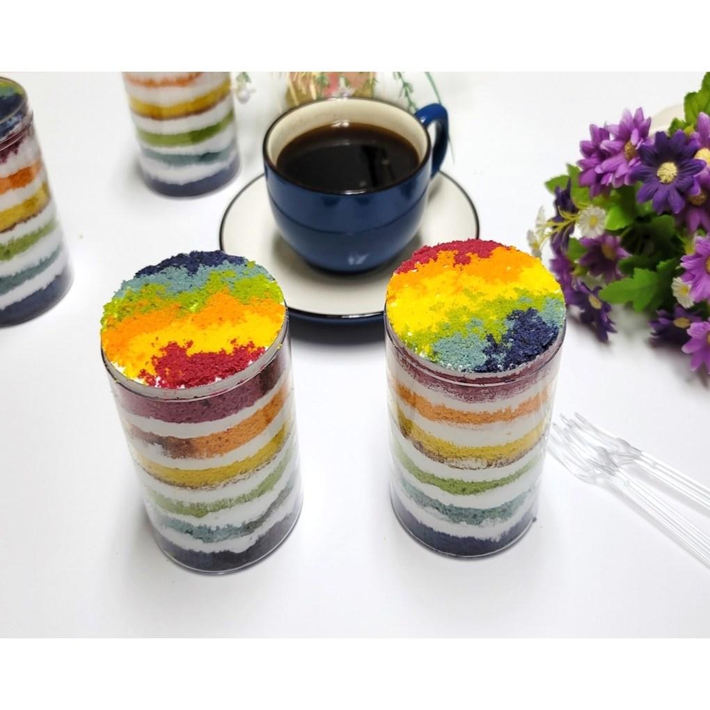 레인보우 컵케익만들기(케이크만들기 레인보우시트 케익시트 레인보우케이크), 시트 등 구성품 4종