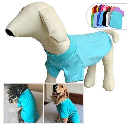 2018 애완 동물 의류 개복 빈 티셔츠 티셔츠 중소형 중형견 용 100 % 코튼 개 티즈 클래식 (XS Turquoise) 2018 Pet Clothing Dog Clothes, 1set