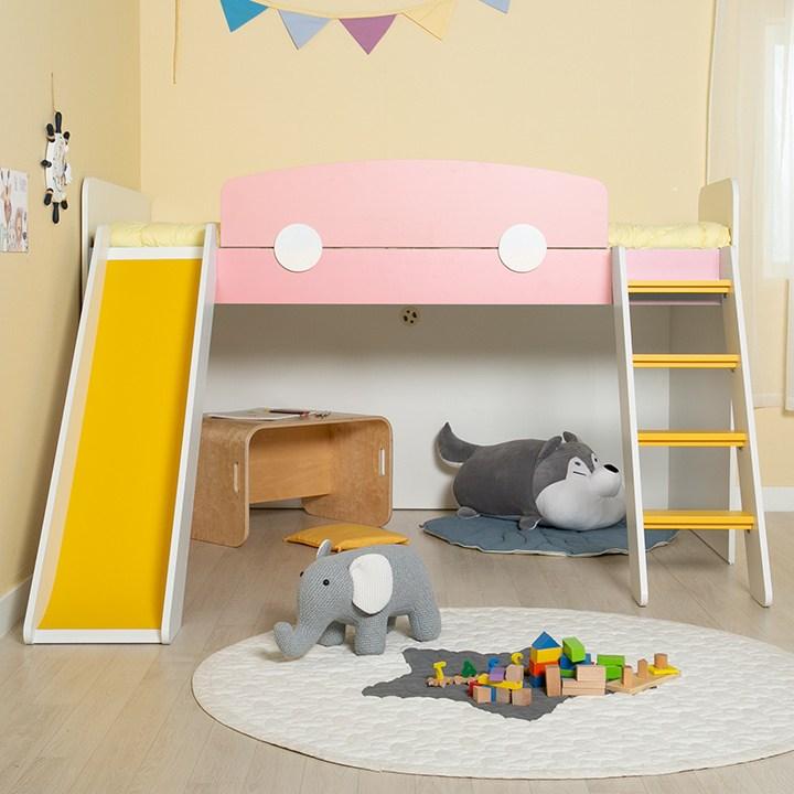 에보니아 플레이 벙커침대 사다리 미끄럼틀, EB1102 매트포함 핑크