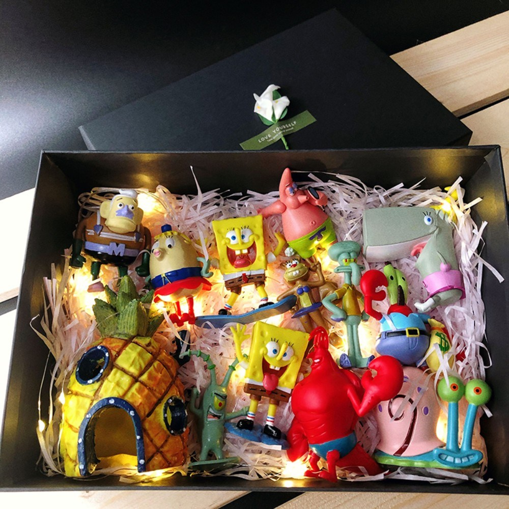 만화 스폰지밥 스폰지송 징징이 깐깐징어 뚱이 별가 캐릭터 피규어 세트 장난감 장식품, 12종+파인애플하우스+선물상자+램프개