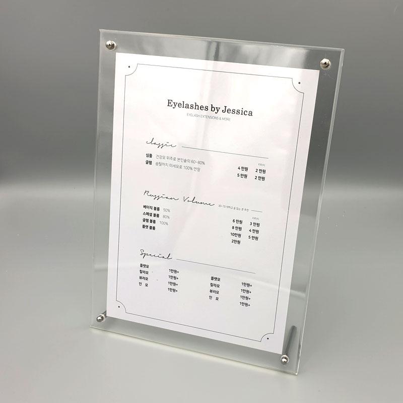 을지메뉴 아크릴 투명 액자 세트 게시판 안내판 알림판 거치대 A4 테이블메뉴판 가격표 메뉴꽂이 POP꽂이, 아크릴 A4