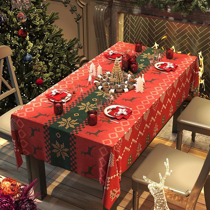 크리스마스 캠핑 체크 식탁보 테이블보 파티 식탁매트 홀리데이 크리스마스와 새해 식탁보, 축제 엘크, 90  90cm