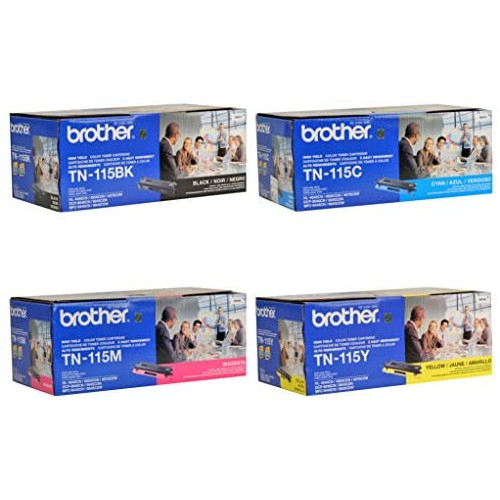Brother TN115BK High Yield Black Toner Cartridge - Retail Packaging, 본문참고, 옵션 1 Style = 4 Color Set