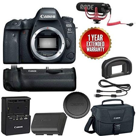 Canon EOS 6D Mark II Wi-Fi Digital SLR Camera Body with BG-E21 Battery Grip Rode + VMGO + Canon 100E, 상세 설명 참조0