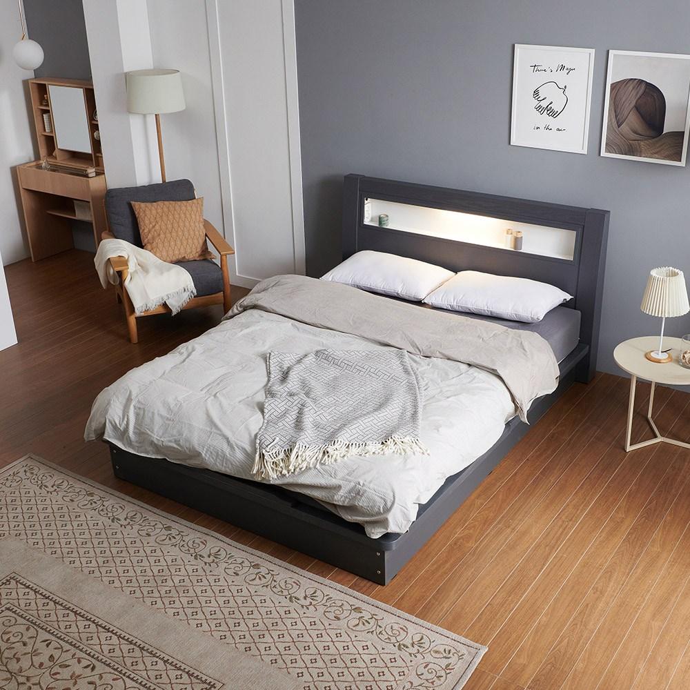 크렌시아 라이 LED 평상형 퀸 침대 Q+본넬 매트리스, 그레이