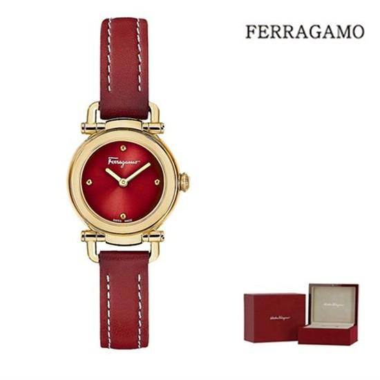 [하프클럽/페레가모]페레가모 간치니 캐쥬얼 골드레드 레더 시계