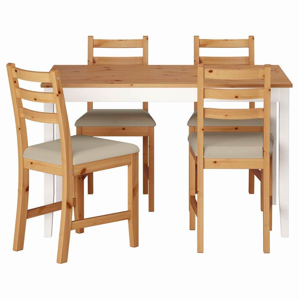 테이블+의자4 라이트 앤티크 스테인 화이트 스테인 비타뤼드 베이지 LERHAMN 118x74 cm, 기본