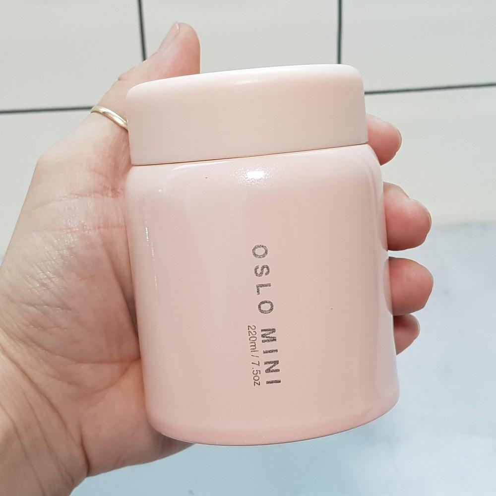 오슬로 보냉 보온 죽통 다이어트 이유식 미니 푸드자 280ml, 핑크