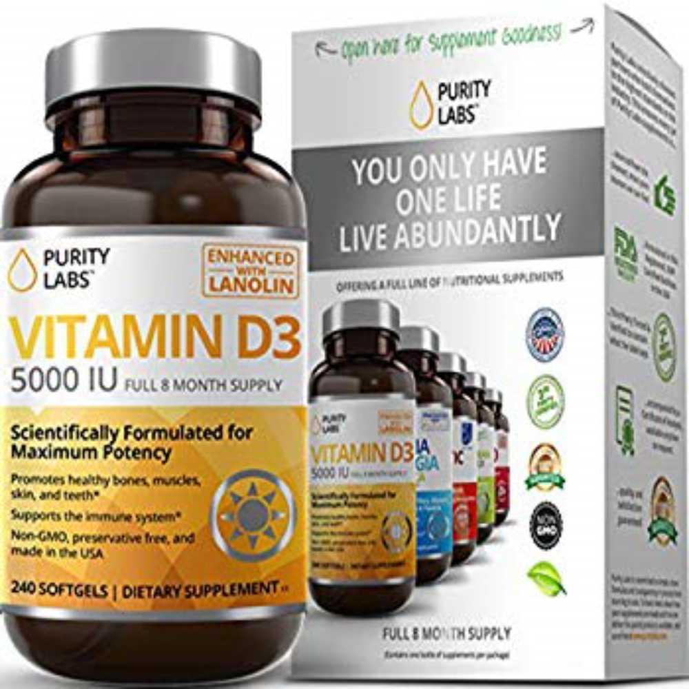 구매대행 Purity Labs Vitamin D3 5000 IU Softgels  Gluten Free Always Non GMO Pres