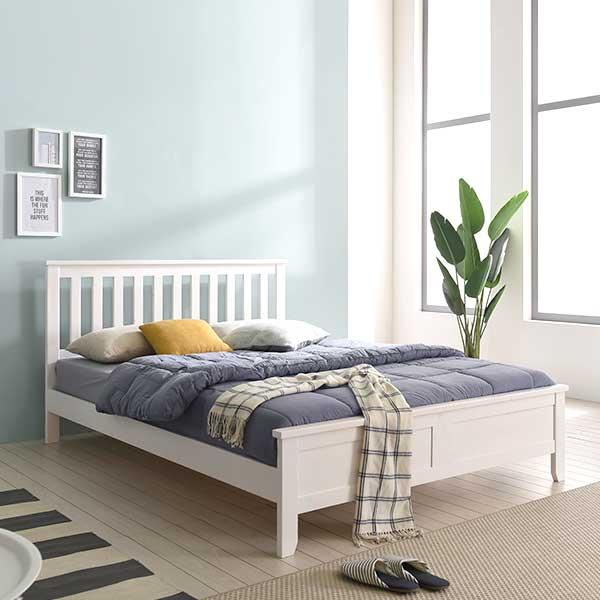 보루네오하우스 프라임 루나 원목 SS 침대 + 본넬매트 FC0102, 화이트워시