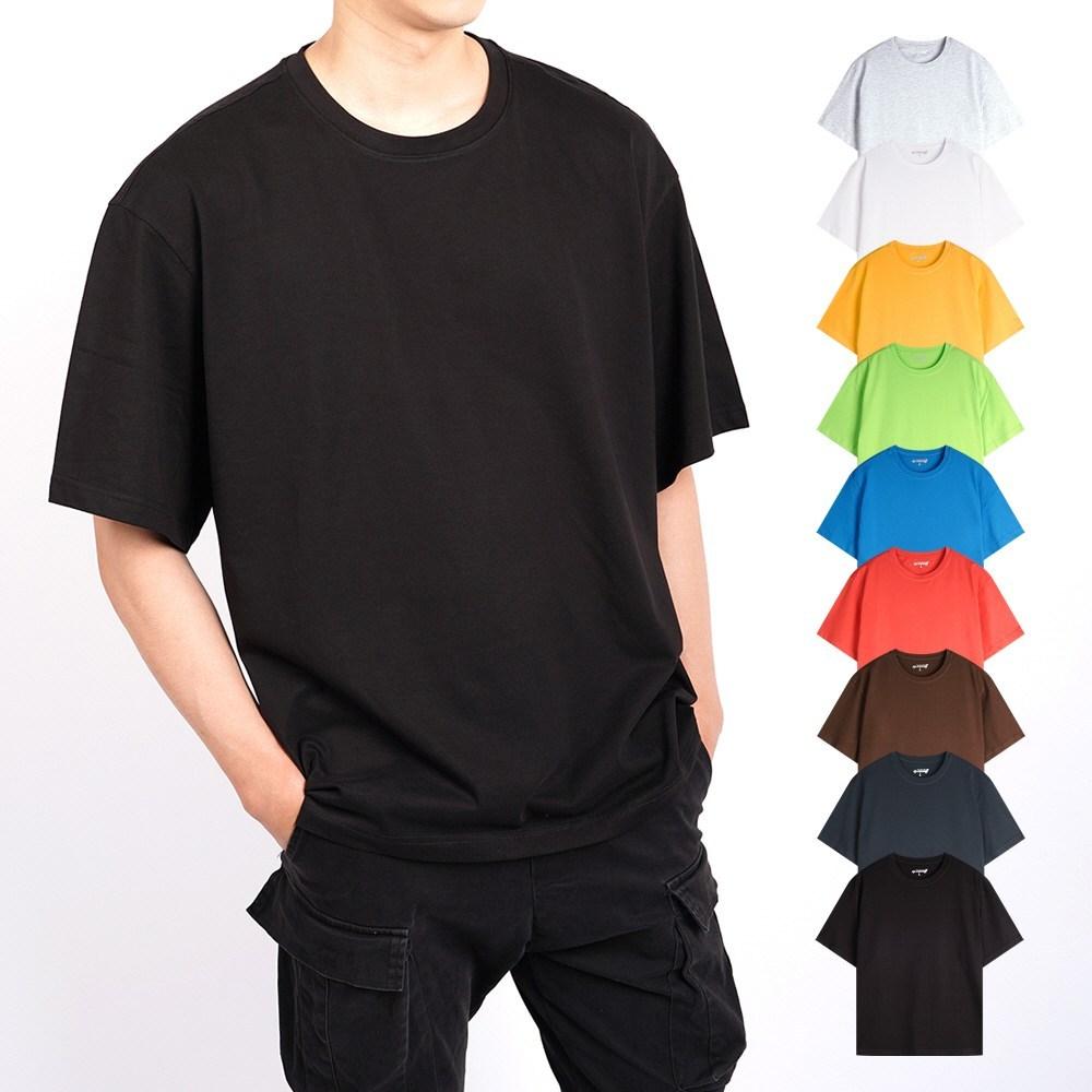 지스캇 남녀공용 24수 바이오워싱 리얼 오버핏 무지 반팔 티셔츠, MOT-165-블랙