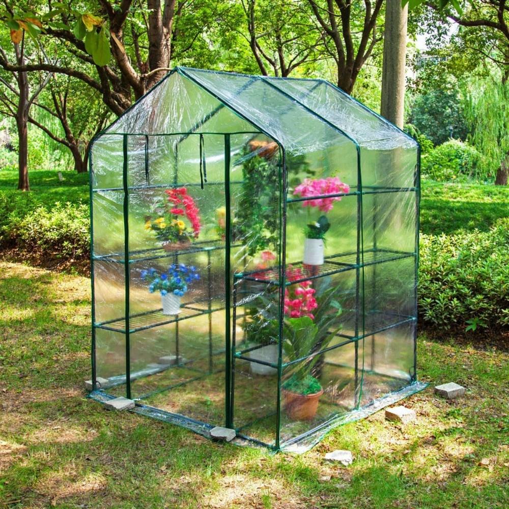 가정용 베란다 다육이 옥상 비닐하우스 온실 마당 소형 미니 조립식 화단꾸미기, 더블 (투명)143x143x195cm개