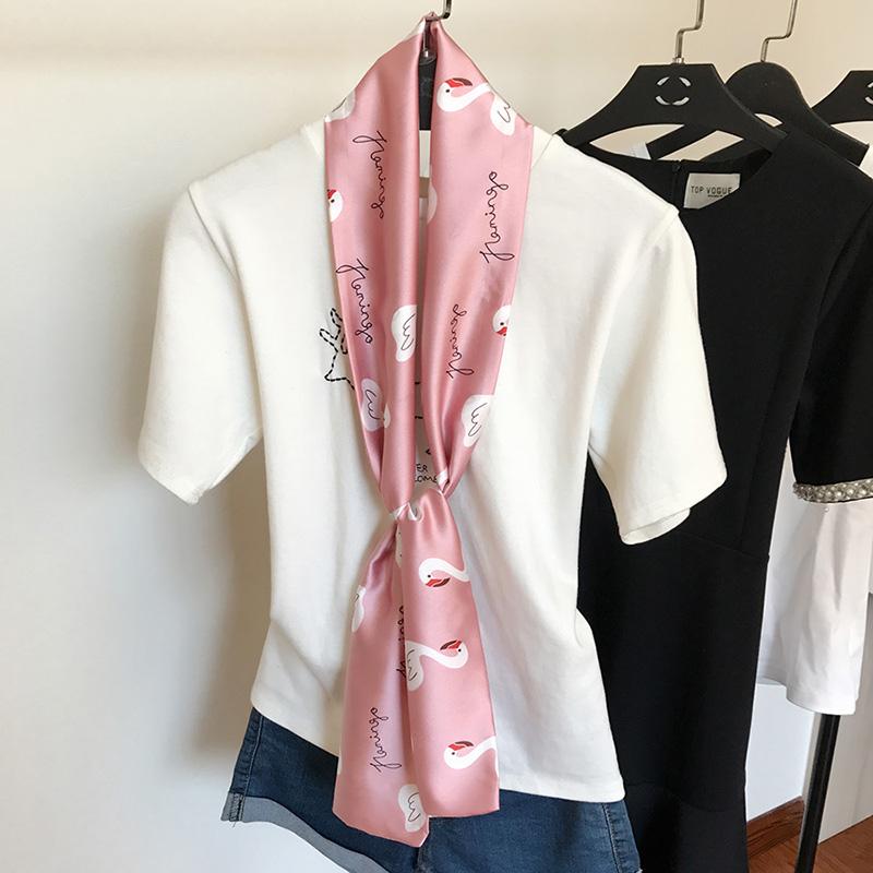 긴 스카프 셔츠 유니폼분위기 좁고 긴 스카프