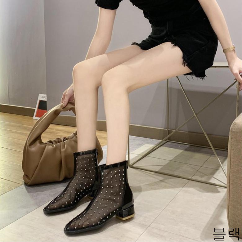 굿데이 컴퍼니 여성 데일리 여름 워커 부츠 미들 굽 리벳 앵글신발 lMDX01
