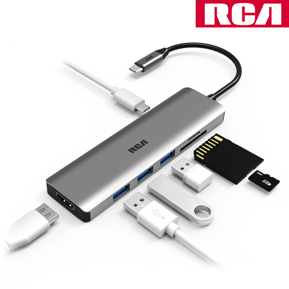 RCA C112 C타입 허브 HDMI SD TF PD 카드리더기 맥북프로, C112그레이