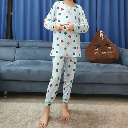 멜란지 아동피치도형세트 짱구 잠옷 상하세트 키즈 수면 보들보들 파자마 여아 남자아동가능