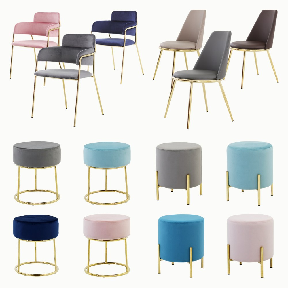 THEJOA 카페 인테리어 의자 골드의자 인테리어의자, 라이트골드스툴-그레이