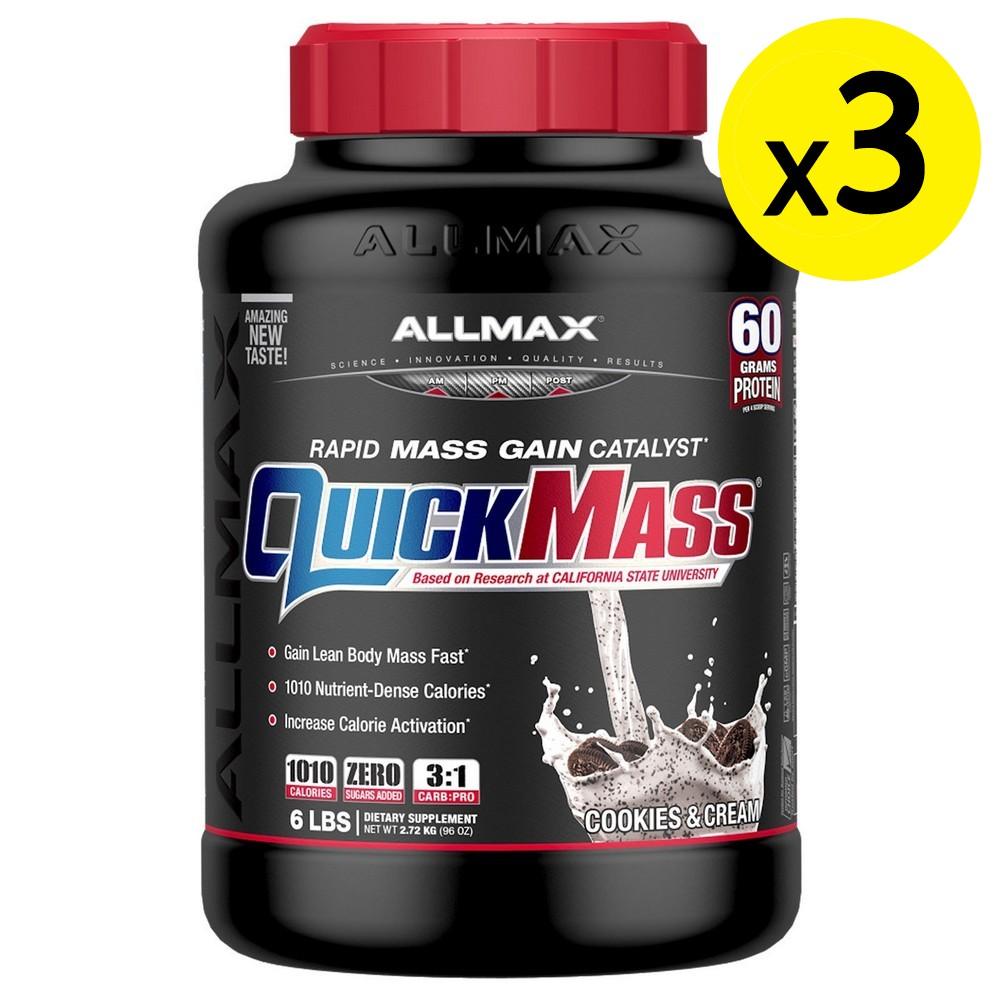 [미국직구]ALLMAX Nutrition Quick Mass Rapid Mass Gain Catalyst 쿠키 앤 크림 2.72kg(6lbs) 3개, 선택, 상세설명참조