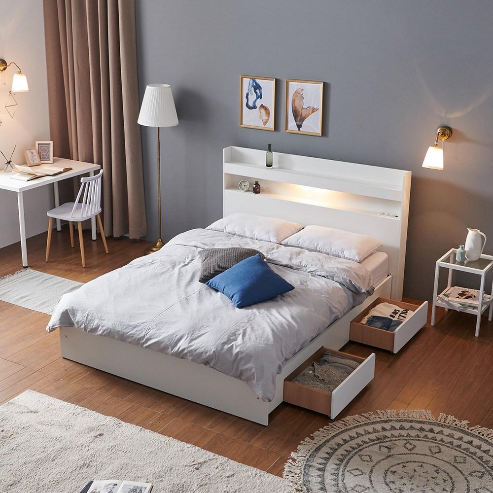 크렌시아 아너스 LED 일반서랍형 퀸 침대 Q+매트리스, 화이트, 본넬 매트포함