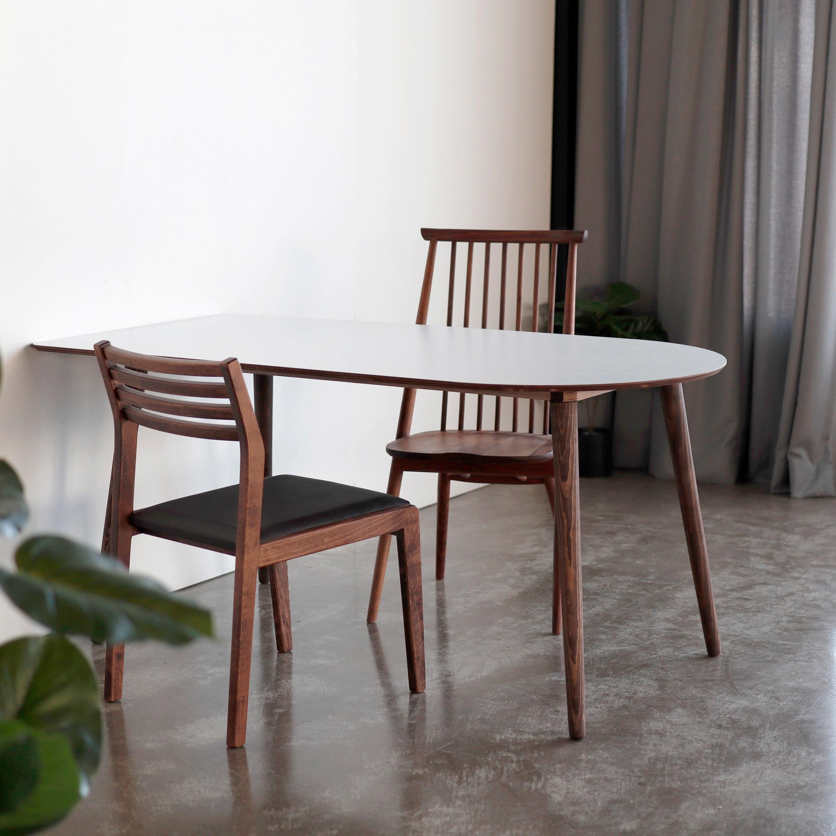 체나레 HPM 멜라민 반타원 화이트 카페 식탁 1400 테이블, 내추럴