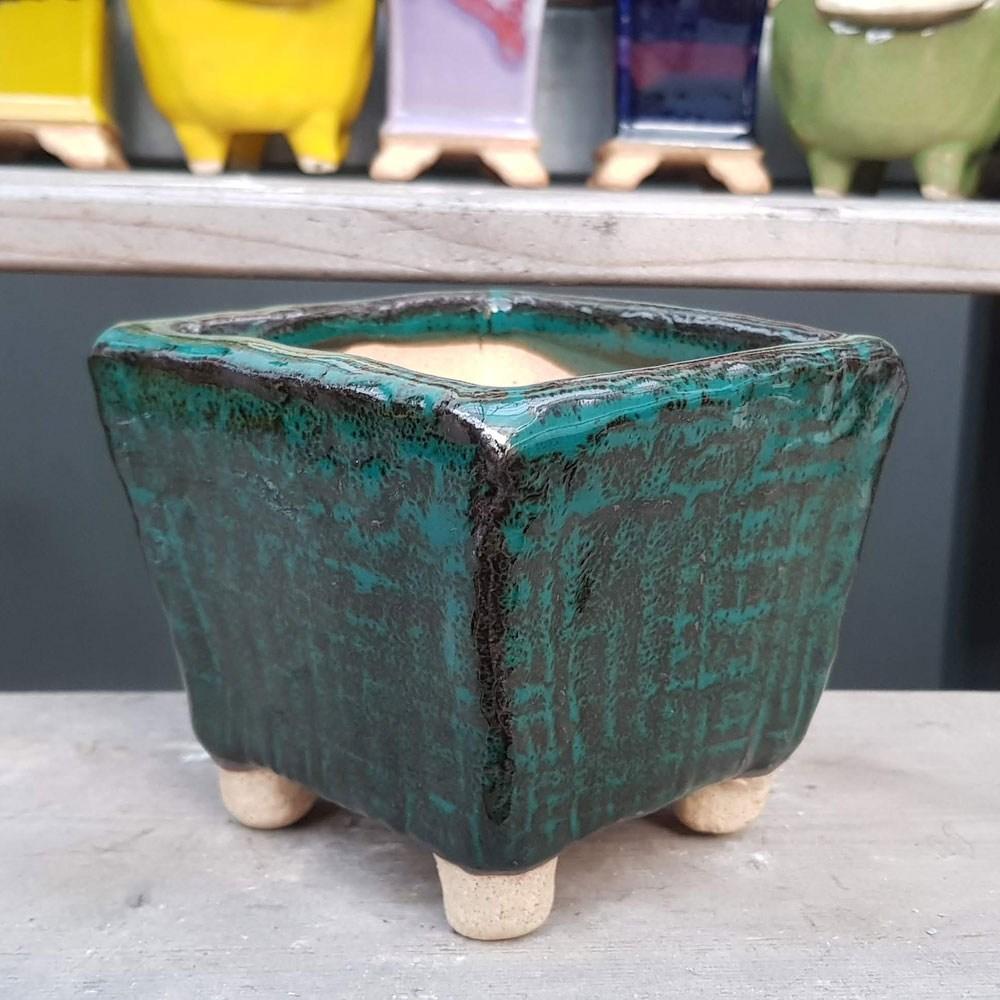 제이팟다육 dm 사각 수제화분 다육이화분 104, 녹색