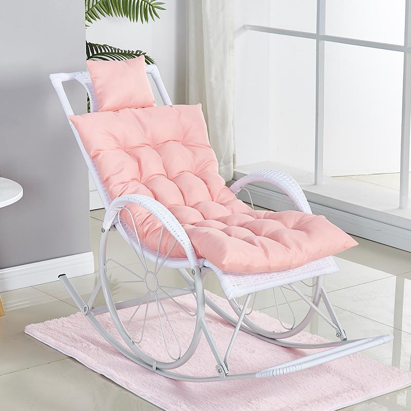 인테리어 흔들의자 안락의자, 화이트 + 바닥 패드 + 연핑크 쿠션 종합 세트(사은품 : 베개, 안대, 드라이버)