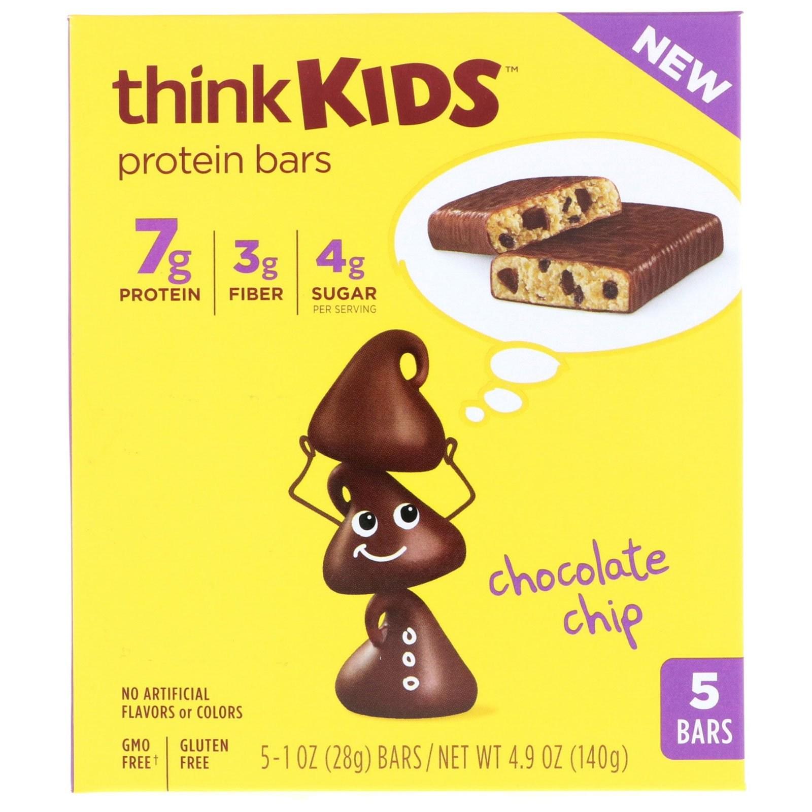 씽크씬 씽크키즈 단백질 바 초콜릿 칩 5 각 28g 프로틴바, 1개, -