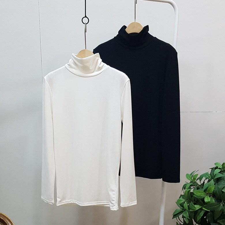 디바스타 여성용 2장 옷장 속 기본템 찰떡 폴라 티셔츠