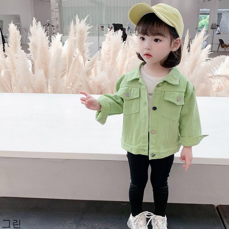 굿데이 컴퍼니 여아 캐주얼 봄 가을 얇은 데님재킷 아동 바람막이 청점퍼 패션 코트 lGNW09