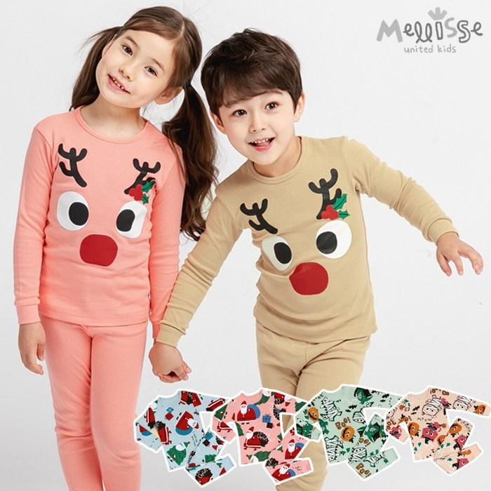 멜리스 크리스마스 30수후라이스 9부 유아동실내복 상하의세트