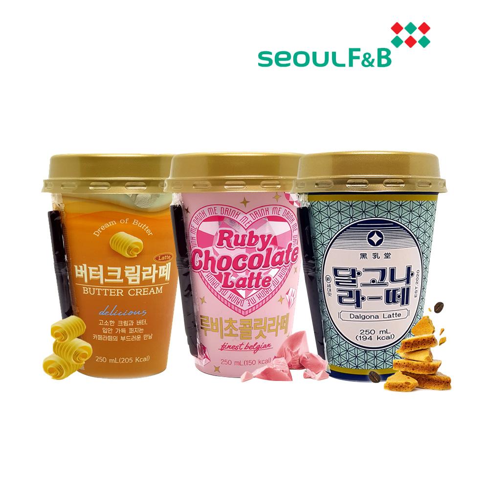 서울에프엔비 라떼3종혼합 250ml 10컵씩 달고나 버터크림 루비초콜릿 밀크카페라떼 편의점컵커피페트, 30개입