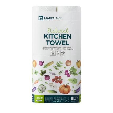 마케마케 깨끗한 천연펄프 키친타월 150매, 8개입, 10팩