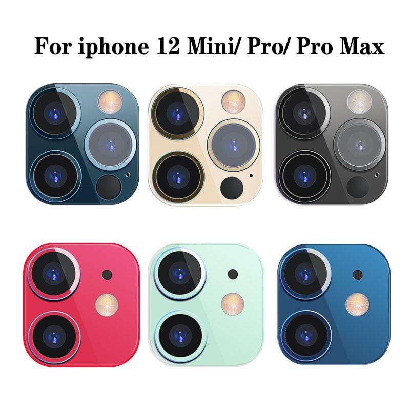 아이폰 12 미니 프로 최대 알루미늄 합금 링 필름 카메라 렌즈 케이스 커버에 대 한 금속 다시 화면 보호기, A Blue, for iphone 12pro (POP 4800017467)