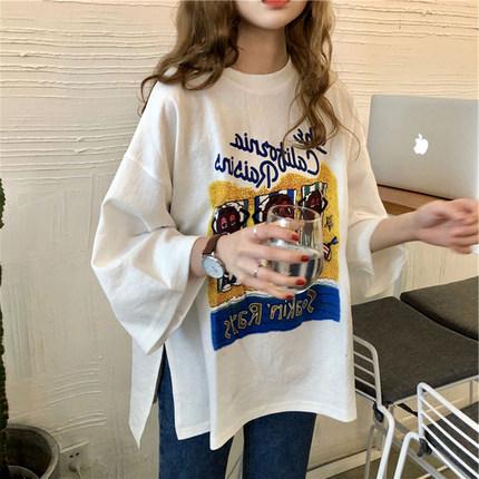 여성 프린트 그래피티 유니크 티셔츠 루즈핏 캐주얼 BRSJan12 0121an02