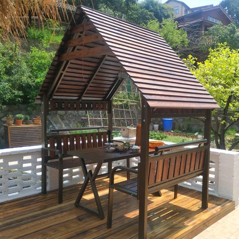 원목 야외 테이블 세트 옥상 파고라 마당 정원 의자 6인, 파빌리온 [2.2 x 1.34 미터]