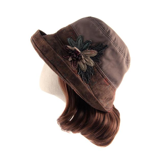 엄마짱 MHF 8531 꽃지 패딩 벙거지 코사지 엄마 모자 할머니 선물 항암모자 겨울 버킷햇