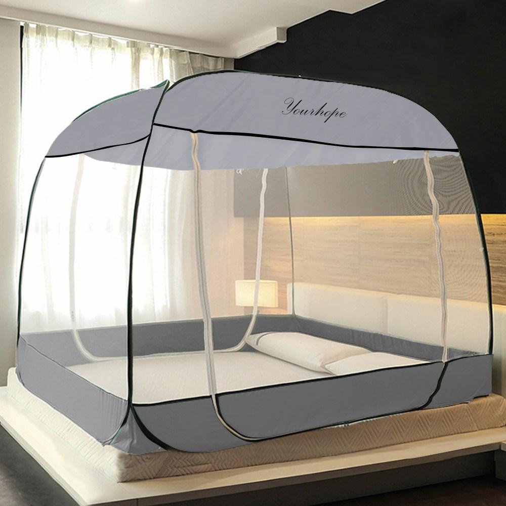 원터치모기장 텐트형 사각침대모기장 디자인 모기장, 심플 그레이(M-SGR03)
