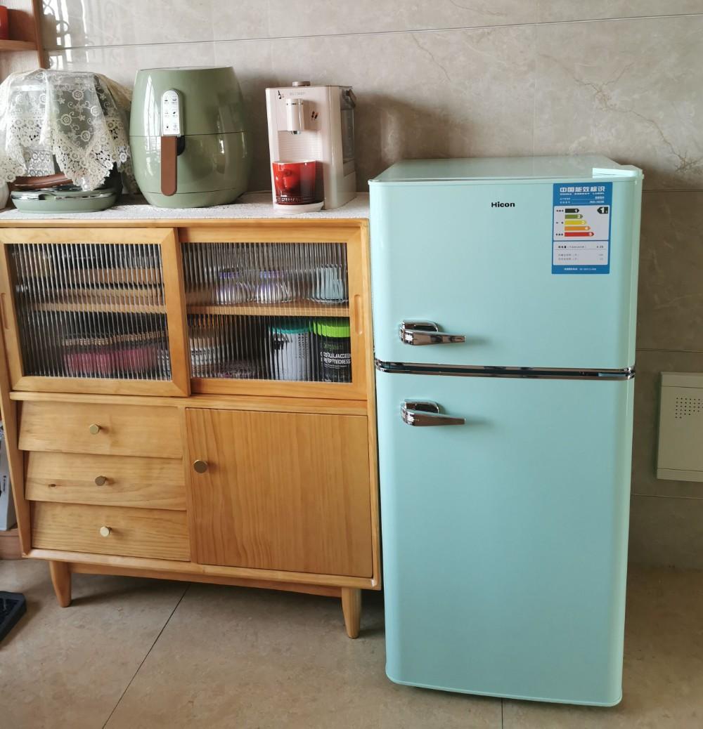 HICON BCD-108 더블 도어 2단 2도어 레트로 소형 냉장고, 142L 민트 그린 업그레이드