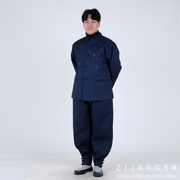 [4523] 남자 한복 세트 실크 잔골지 겨울 누빔 겨울한복 겨울개량한복 겨울생활한복