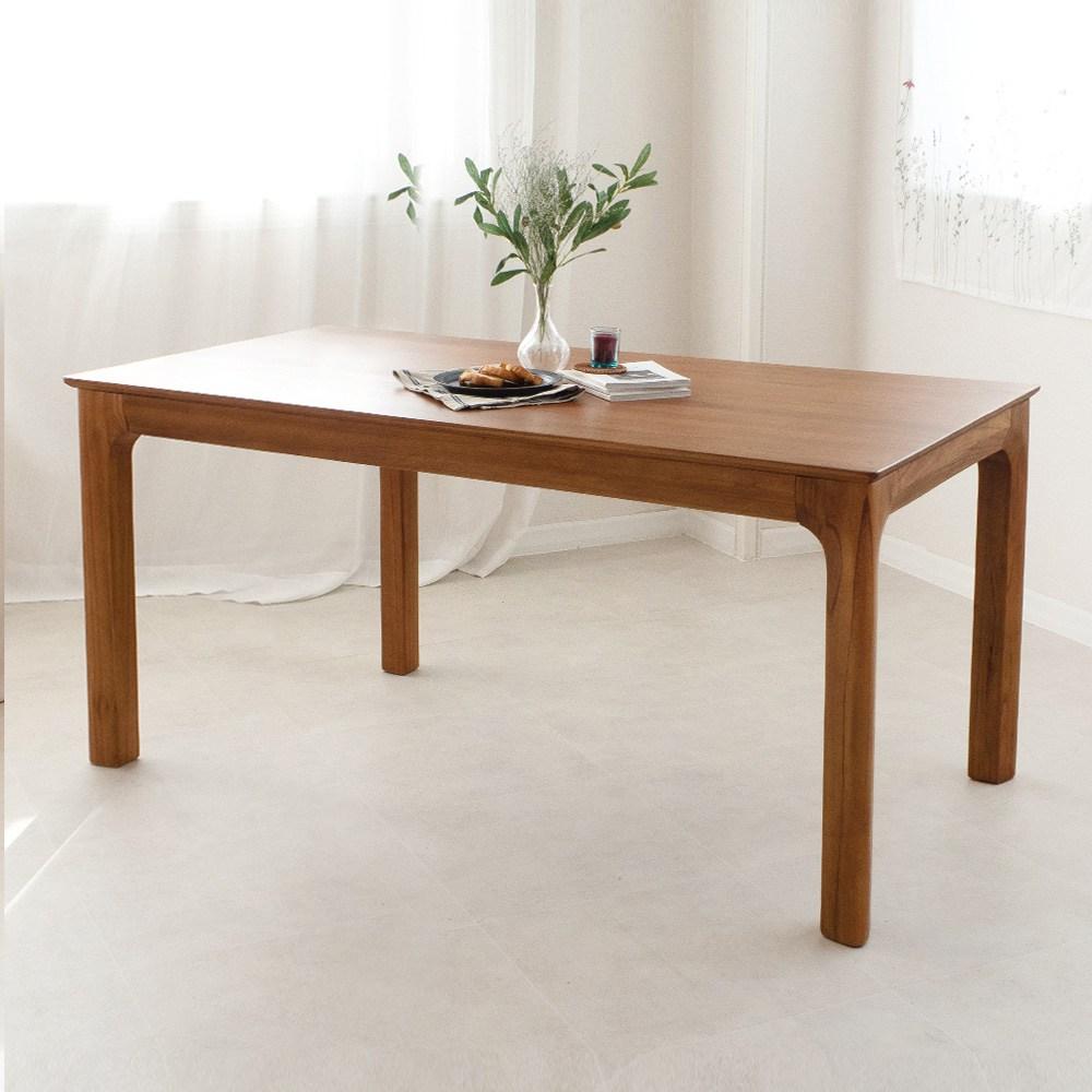 라로퍼니처 발렌시 4인 원목 식탁 세트 참죽나무 4인용 테이블 식탁세트, 단품-테이블