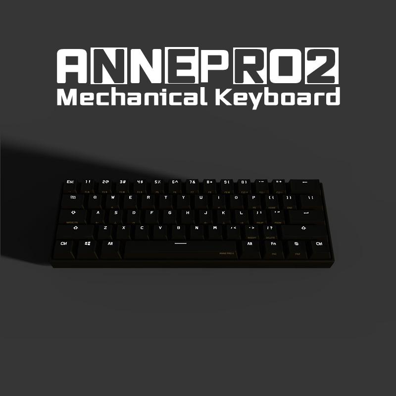 Anne Pro2 기계식키보드 블루투스 자체 정의백라이트 무선키보드, 은축- (Cherry) 블랙, ANNEPRO